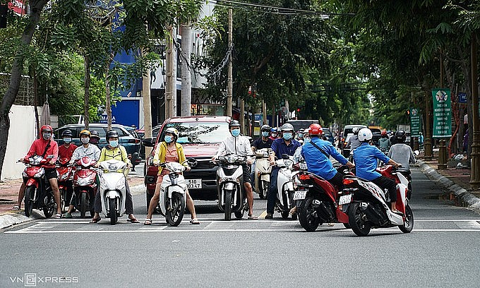 People hit the road in Vung Tau as the southern beach town has eased Covid-19 restrictions, September 23, 2021. Photo: VnExpress