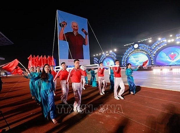 At the opening ceremony of the 8th National Sports Games. Photo: VNA