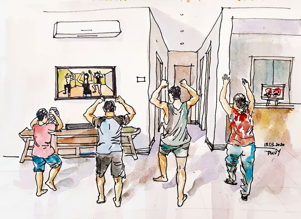 sketches show how lives of hanoians go on amid covid 19 pandemic