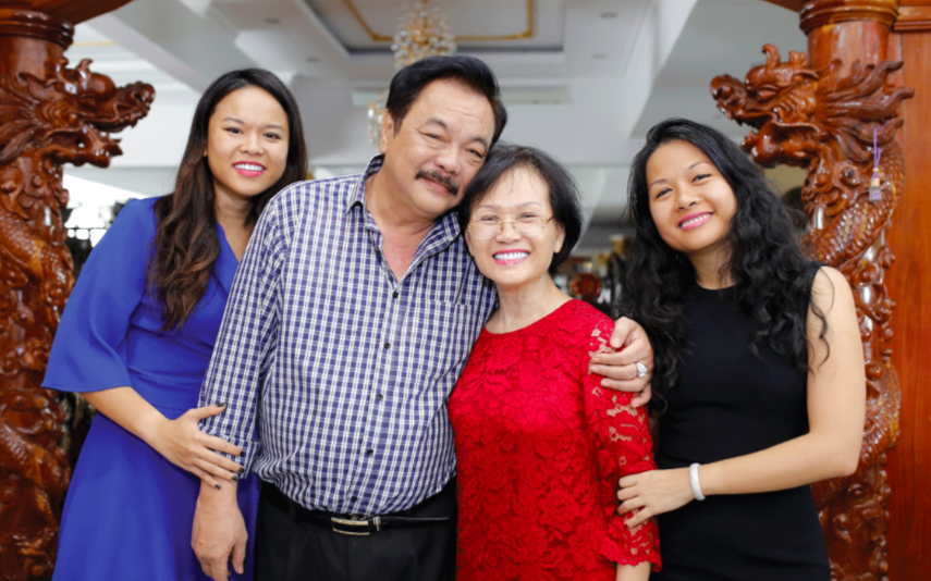Phuong uyen tran's mother (in red) had made key decisions behind the company's success.