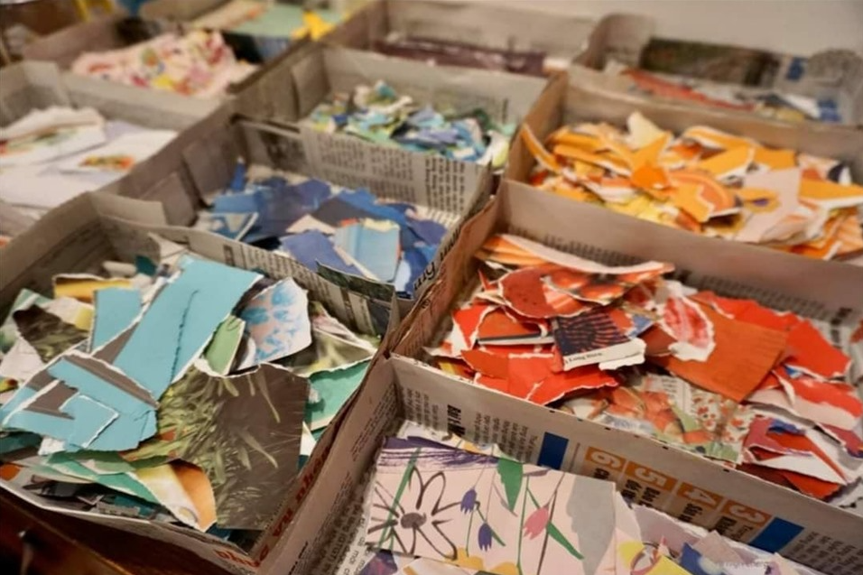 pre school teacher in hanoi turns old newspapers into collage pictures