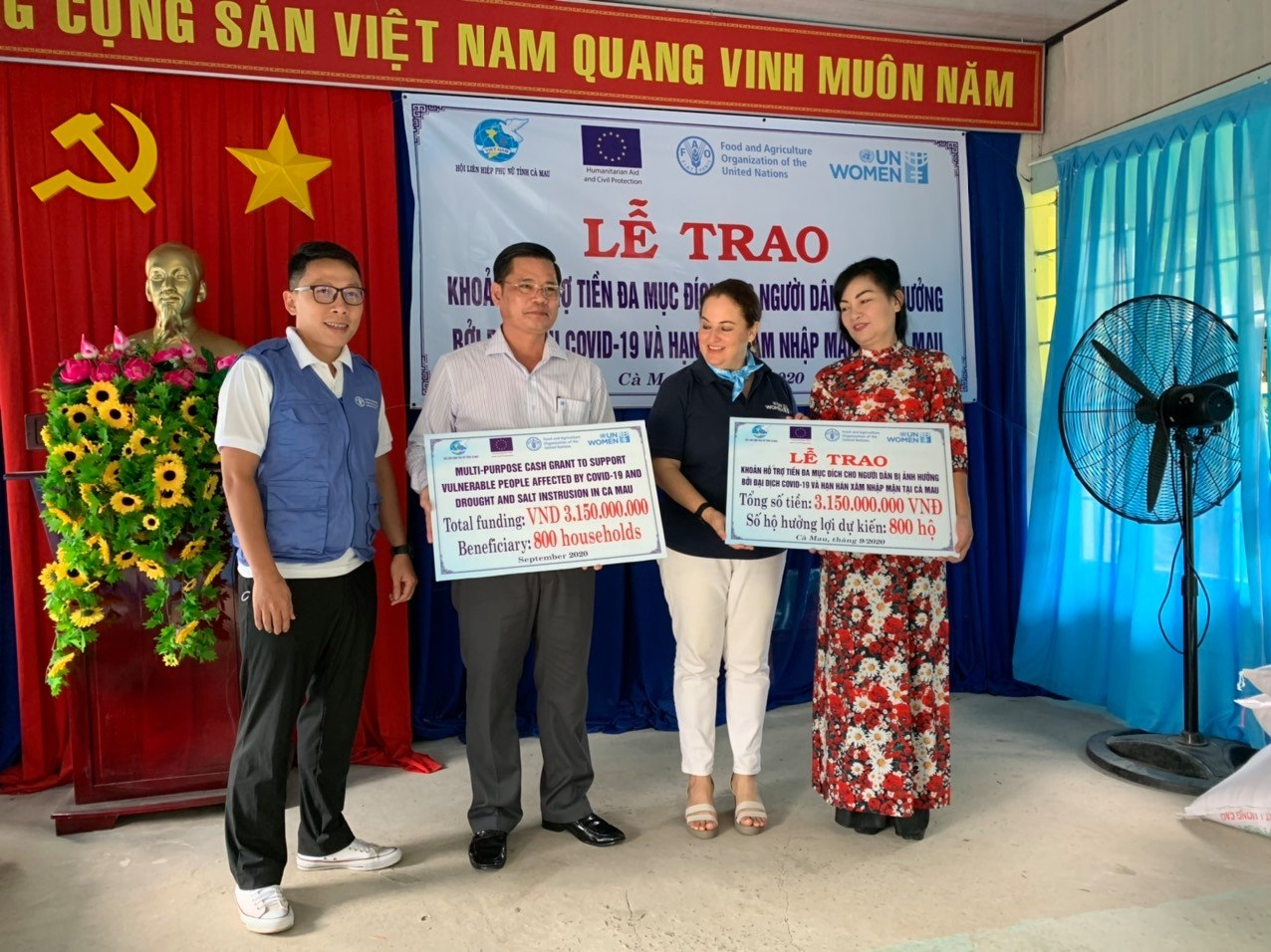 USD 133,000 to help vulnerable people stricken by covid 19 and the drought in vietnam