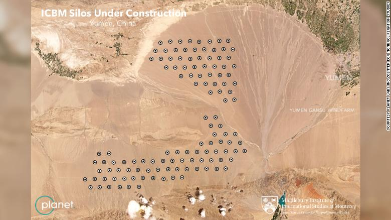 The purported locations of new Chinese ballistic missile silos are represented by dots in this annotated version of an image from commercial satellite company Planet Labs Inc.