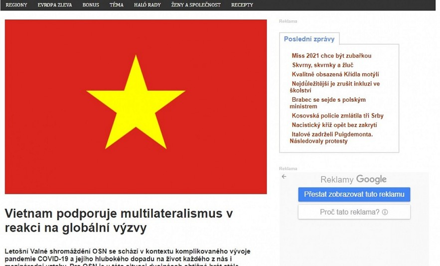 Halonoviny.cz publishes an article highlighting Vietnam's view on promoting multilateral cooperation and upholding international law in addressing global challenges including COVID-19, climate change and maritime disputes.