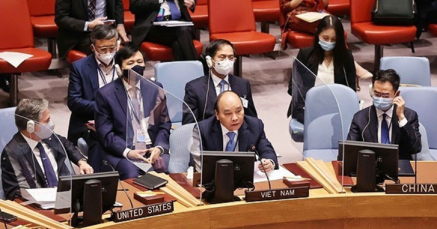 President Nguyen Xuan Phuc delivers a statement at the high-level open debate of the UN Security Council on Climate Security on September 23 (local time) in New York (Photo: VNA)
